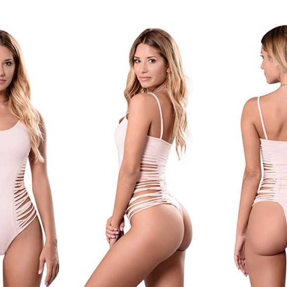 1b5ebd7fee01e sexy slash side thong bodysuit - pink